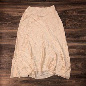 Midi silk slip skirt